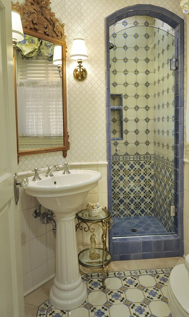 Tiled Showers Bathroom Traditional with Antique Reproduction Pine Carved