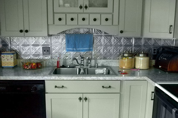 Tin Backsplash Kitchen Contemporary with Backsplash Granite Counter Gray