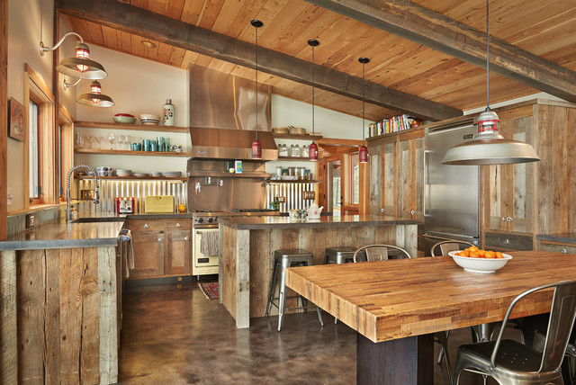 Tin Backsplash Kitchen Contemporary with Bar Stools Beams Butcher