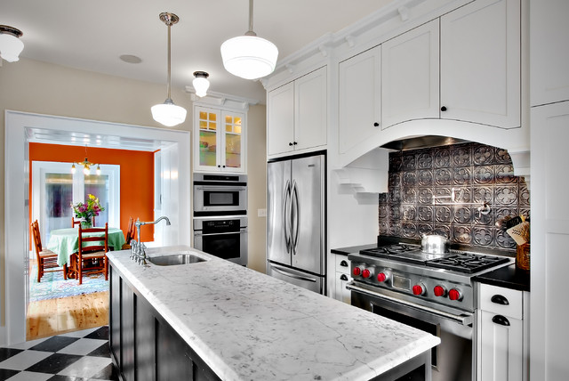 Tin Backsplash Kitchen Craftsman with Checker Pattern Floor Harlequin