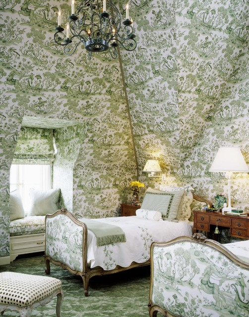 toile wallpaper Bedroom Victorian with attic chandelier green bedroom