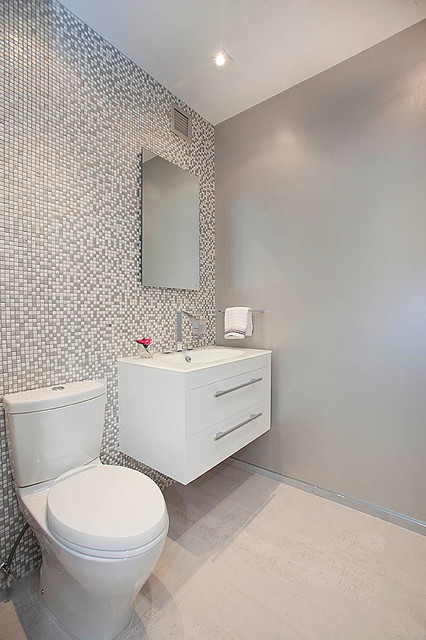 Toto Aquia Powder Room Contemporary with Beige Floor Tile Floating