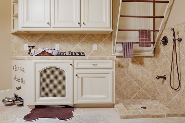 towel drying rack Laundry Room Traditional with built in cabinets built