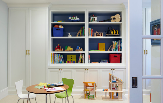Toy Organizer Bins Kids Eclectic with Blue Shelf Backing Book