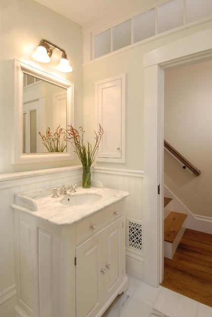 Transom Window Bathroom Traditional with Built in Storage Single Vanity