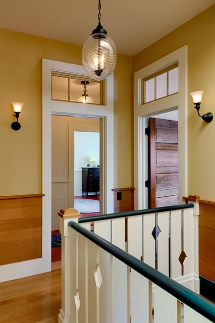 transom window Hall Rustic with green handrail pendant light