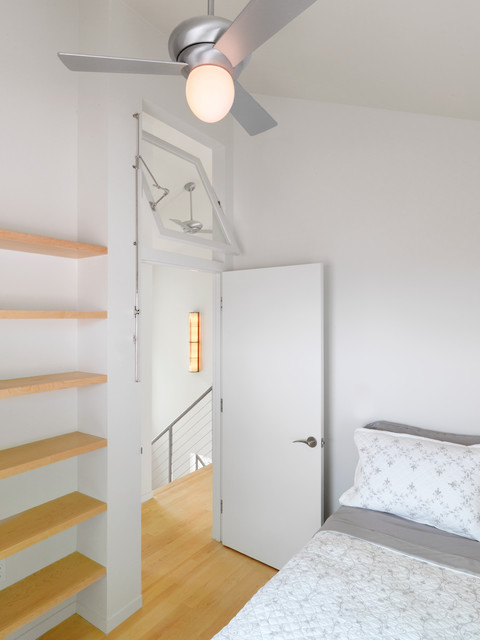 Transom Windows Bedroom Contemporary with Built in Shelves Cable Railing