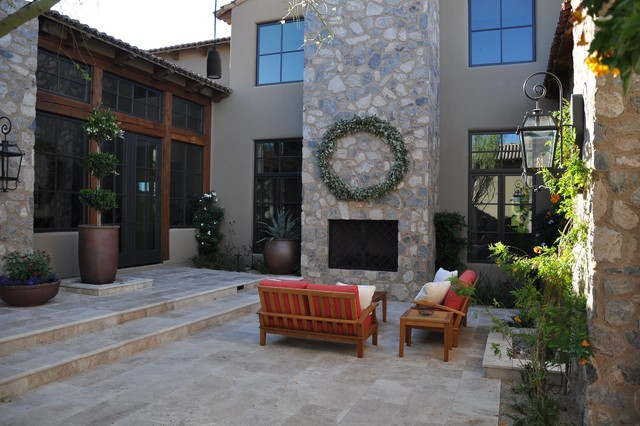 travertine pavers Patio Mediterranean with container plants facade flooring