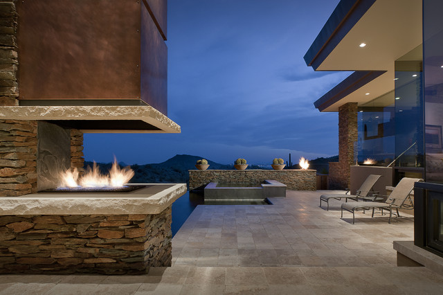 Travertine Pavers Patio Southwestern with Chaise Longue Chaise Lounge