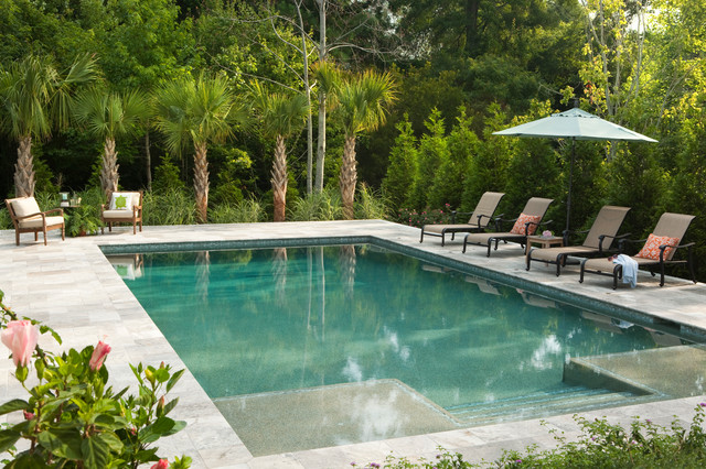 Travertine Pavers Pool Traditional with Armchairs Lounge Chairs Palm