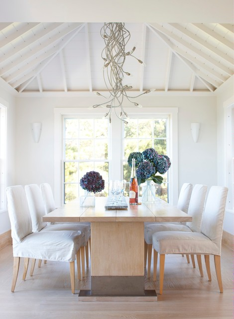 Trestle Dining Table Dining Room Farmhouse with Contemporary Chandelier Exposed Rafters