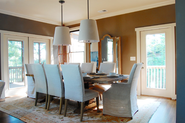 trestle table Dining Room Beach with canoe casual dining pendants