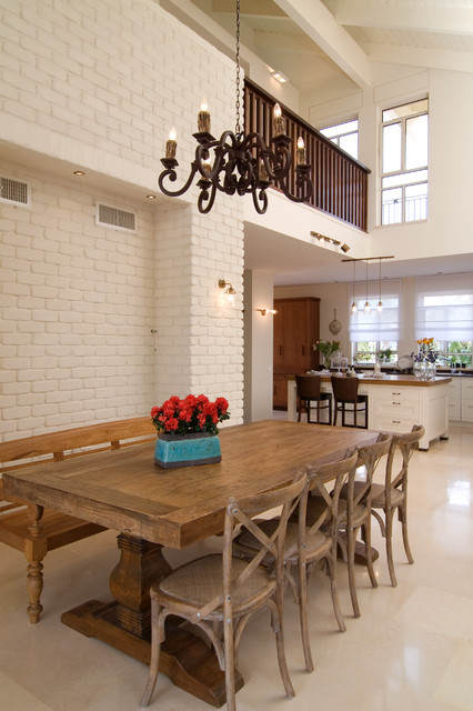 Trestle Table Dining Room Traditional with Brick Wall Chandelier Dining