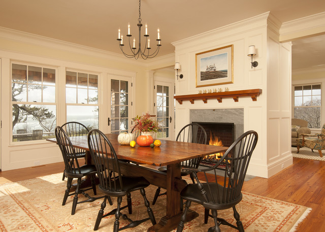 Trestle Table Dining Room Victorian with Airy Americana Area Rug