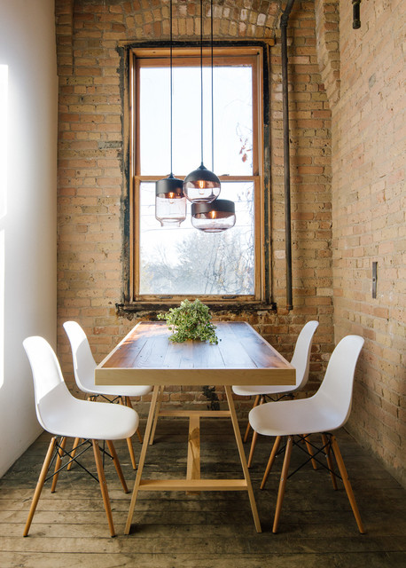 Trestle Tables Dining Room Industrial with Blown Glass Light Blown