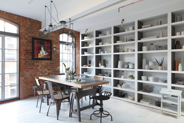 Trestle Tables Dining Room Industrial with Chandelier Concrete Exposed Brick