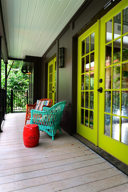 trex decking colors Porch Eclectic with black door knob bright