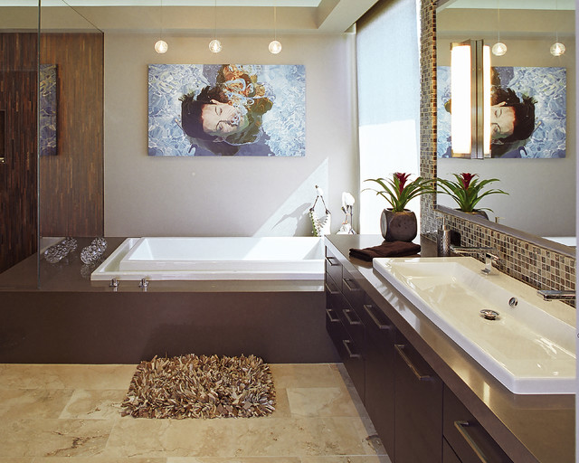 Trough Sink Bathroom Contemporary with Art Bathroom Brown Contemporary