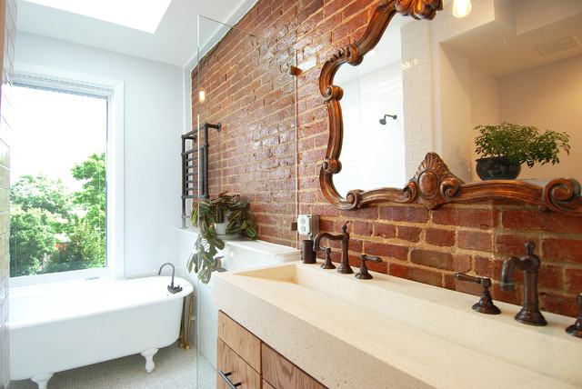 Trough Sink Bathroom Eclectic with Claw Foot Tub Double Trough