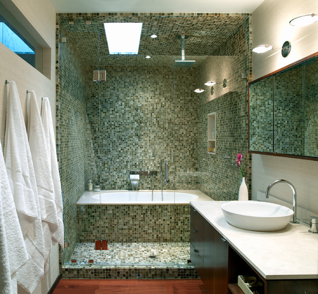 Tub to Shower Conversion Bathroom Contemporary with Bowl Sink Clear Glass