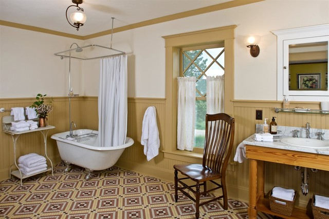 Tub To Shower Conversion Bathroom Farmhouse With Beadboard Wainscoting Bozeman Historic