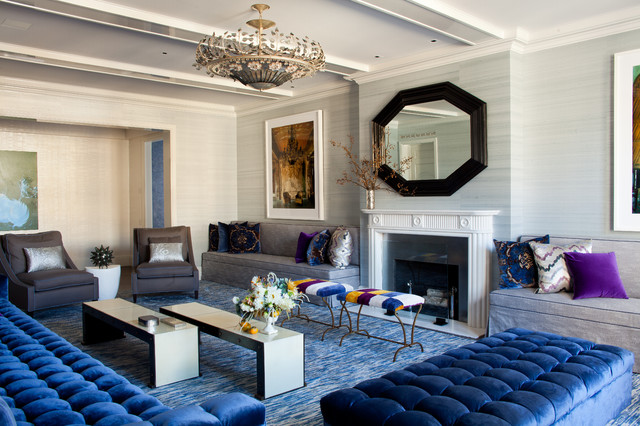 Tufted Couch Living Room Contemporary with Artwork Blue Carpet Blue