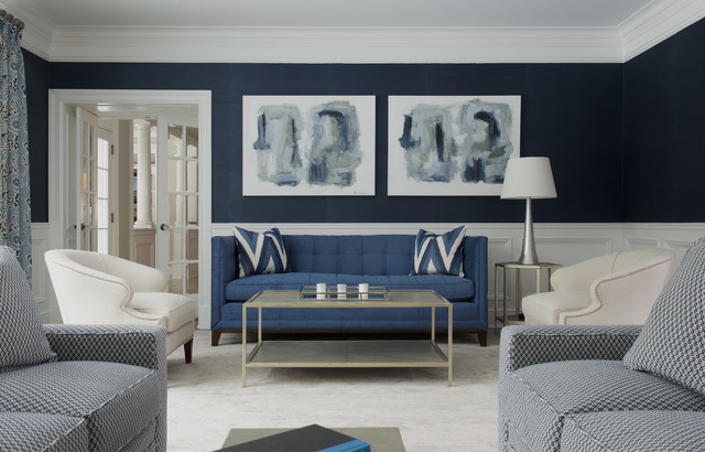 Tufted Couch Living Room Transitional with Abstract Art Blue Room