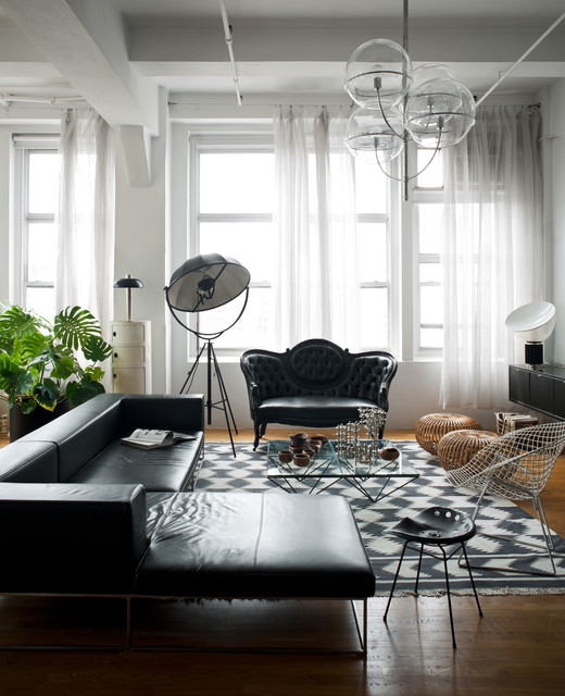 tufted loveseat Living Room Victorian with black black and white