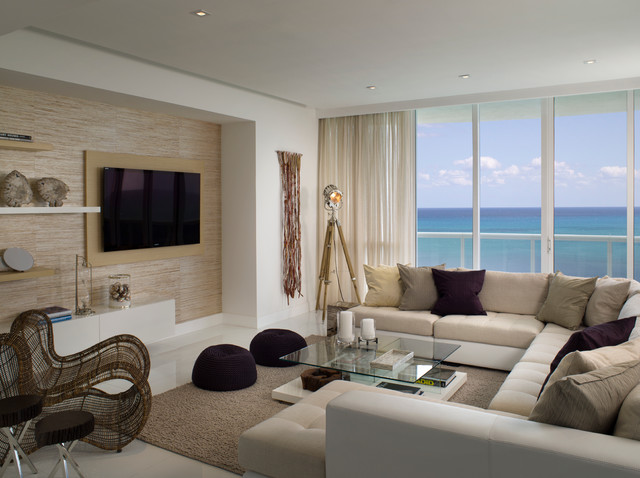 Tufted Sectional Living Room Beach with Beige Curtain Beige Media1