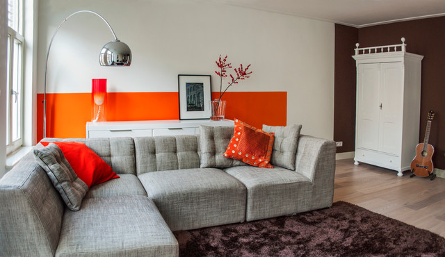 Tufted Sectional Living Room Modern with Brown Rug Brown Wall