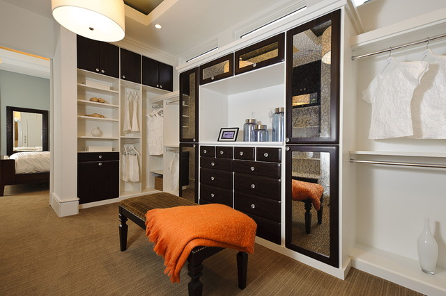 Tuftex Carpet Closet Contemporary with Built in Shelves Built