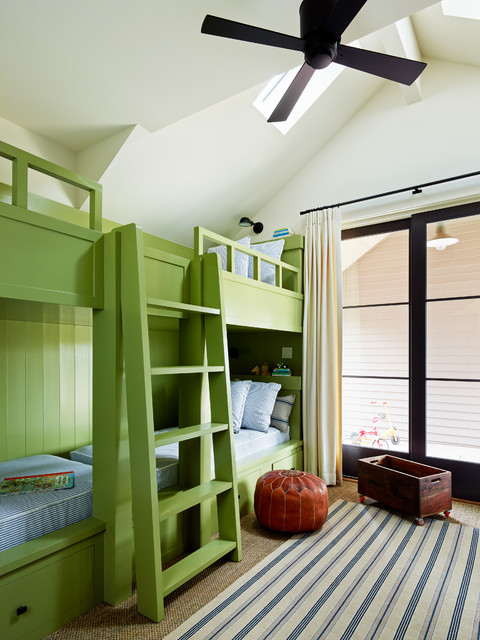 Twin Bunk Bed Mattress Kids Transitional with Architectural Elements Built In