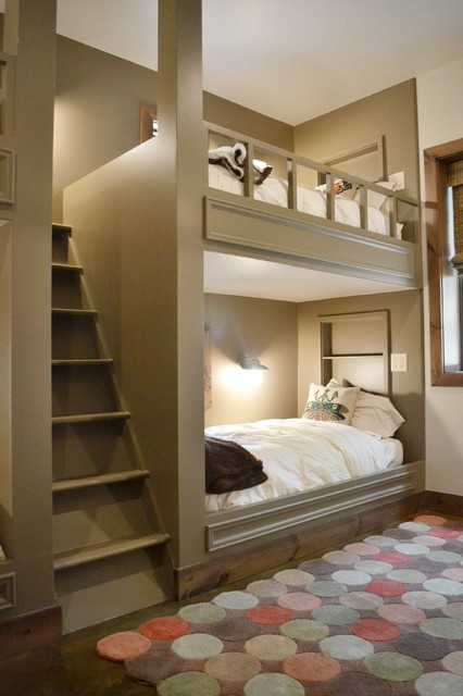 Twin Over Full Bunk Bed with Stairs Kids Contemporary with Alcove Baseboards Built In