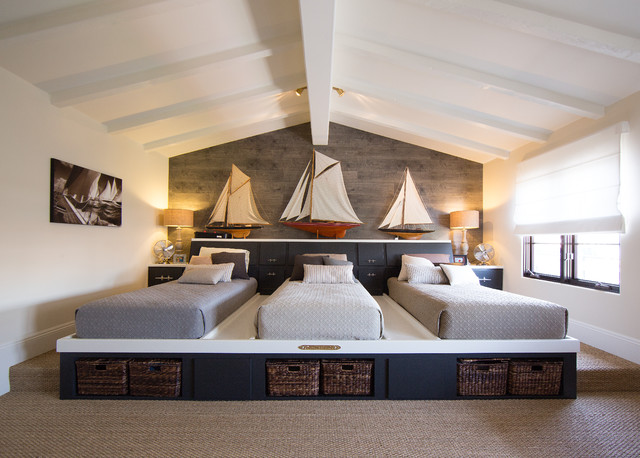 Twin Platform Bed with Storage Bedroom Mediterranean with Beige Carpet Cathedral Ceiling