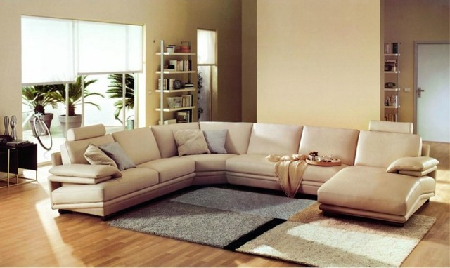U Shaped Sectional Sofa Living Room Modern with Beige Leather Sectional Sofa