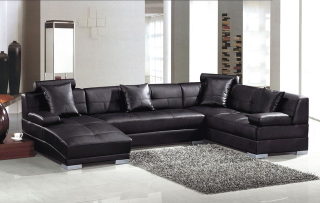 U Shaped Sectional Sofa Living Room Modern with Black Leather Sectional Black