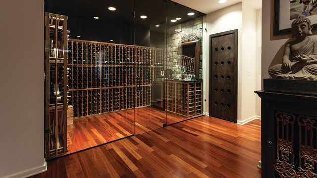Uline Wine Cooler Wine Cellar Contemporary with Buddah Statue Frameless Glass