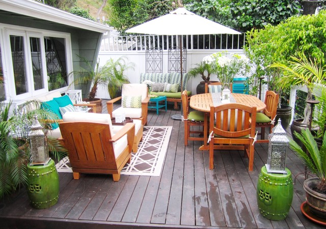 Umbrella Bases Deck Eclectic with Container Plants Deck Decorative