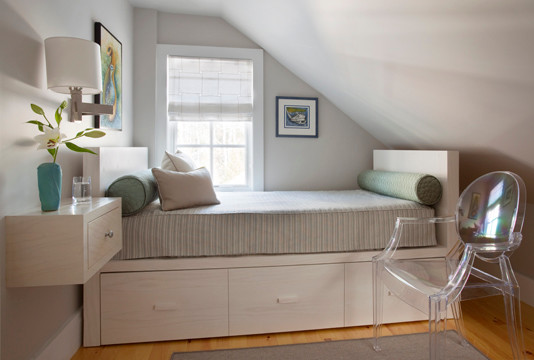 underbed drawers Bedroom Modern with ghost chair small bedrooms