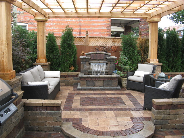 Unilock Pavers Patio Contemporary with Outdoor Cushions Patio Furniture
