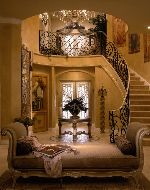 Upholstered Daybed Entry Mediterranean with Beige Upholstery Curving Stairs
