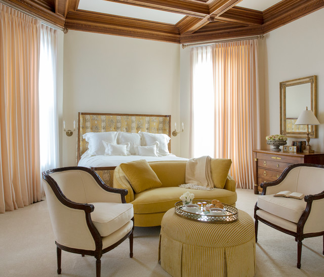 upholstered ottoman Bedroom Traditional with antiques bedroom seating area