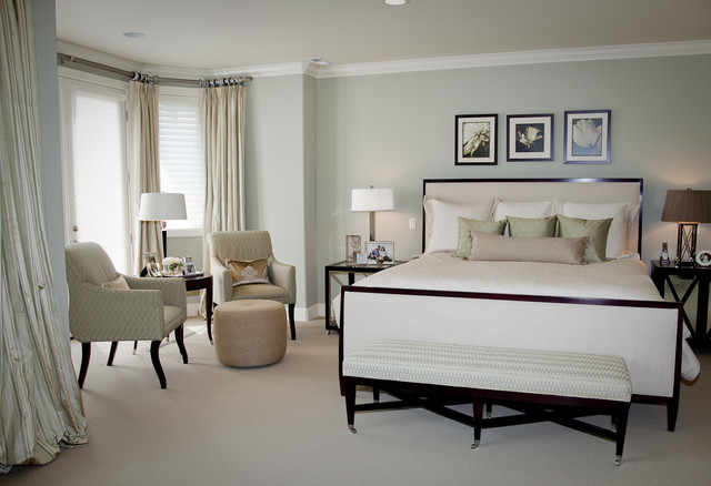 Upholstered Ottoman Bedroom Transitional with Baseboard Bay Window Bedside