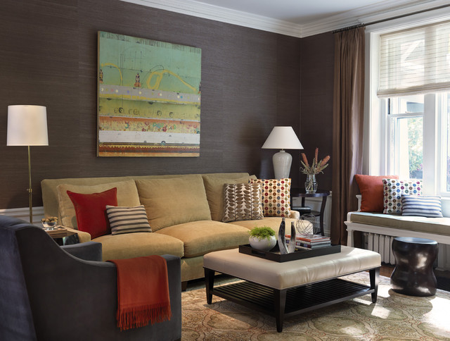 Upholstered Ottoman Family Room Traditional with Area Rug Crown Molding