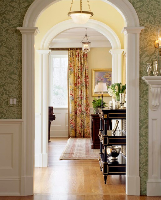 Urban Outfitters Curtains Hall Traditional with Arched Doorway Bird Wallpaper1