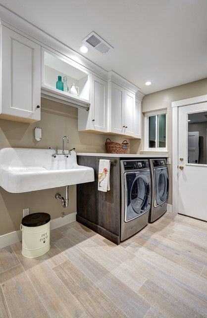 Utility Sink Cabinet Laundry Room Farmhouse with Recessed Lighting Trash Can