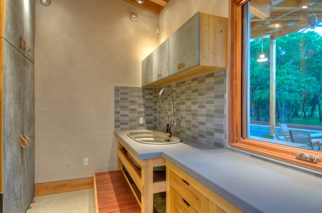 Utility Sink Cabinet Laundry Room Modern with Concrete Counters Concrete Floors