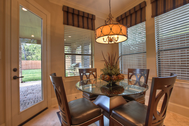 Valences Dining Room Traditional with Beige Blinds Breakfast Table
