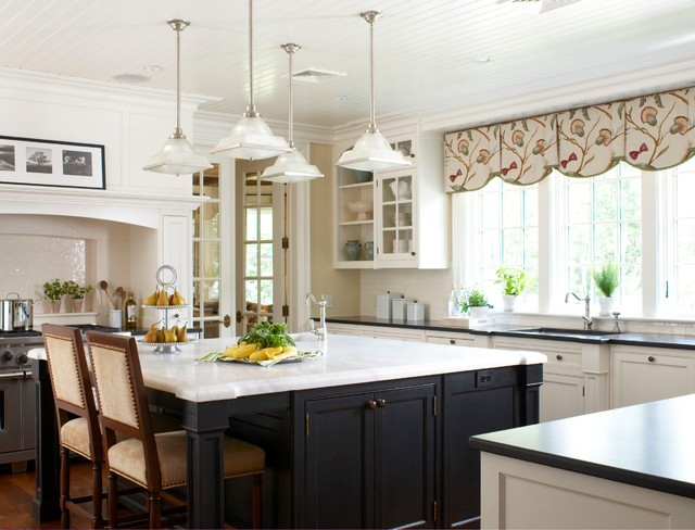 valences Kitchen Traditional with arches bead board ceiling