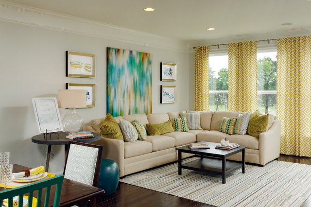 Van Metre Homes Living Room Traditional with Beige Couch Yellow Curtains